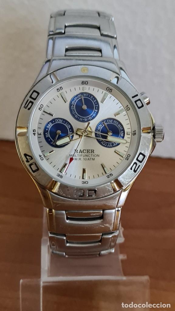 RELOJ CABALLERO RACER MULTIFUNCIÓN ACERO, ESFERA BLANCA Y AZUL, CRISTAL SIN RAYAS, CORREA ACERO ORIG (Relojes - Relojes Actuales - Racer)