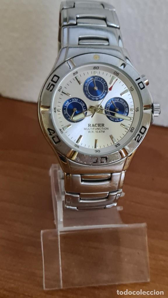 Relojes - Racer: Reloj caballero RACER multifunción acero, esfera blanca y azul, cristal sin rayas, correa acero orig - Foto 3 - 243269710