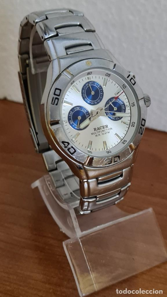 Relojes - Racer: Reloj caballero RACER multifunción acero, esfera blanca y azul, cristal sin rayas, correa acero orig - Foto 5 - 243269710