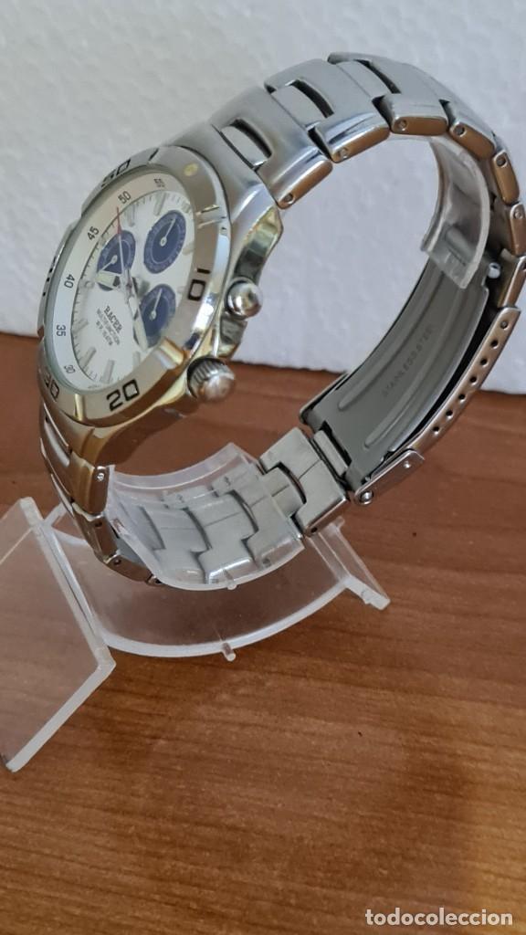 Relojes - Racer: Reloj caballero RACER multifunción acero, esfera blanca y azul, cristal sin rayas, correa acero orig - Foto 6 - 243269710