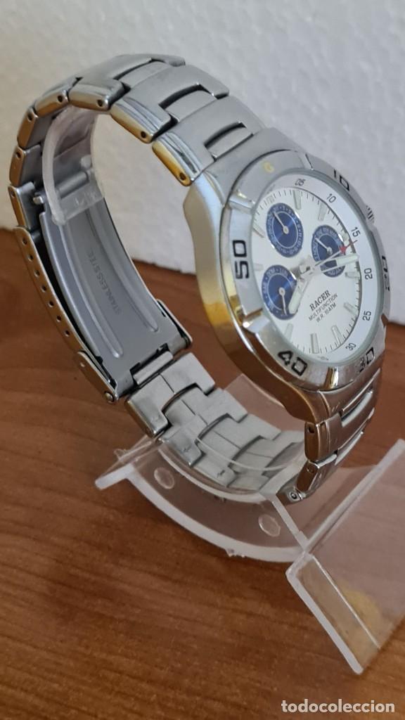 Relojes - Racer: Reloj caballero RACER multifunción acero, esfera blanca y azul, cristal sin rayas, correa acero orig - Foto 7 - 243269710