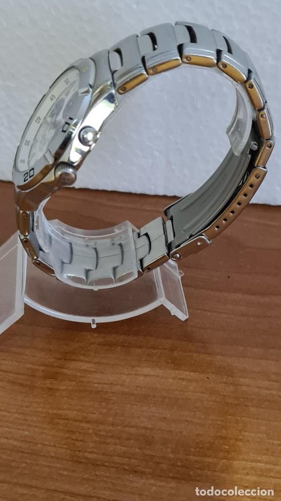 Relojes - Racer: Reloj caballero RACER multifunción acero, esfera blanca y azul, cristal sin rayas, correa acero orig - Foto 8 - 243269710