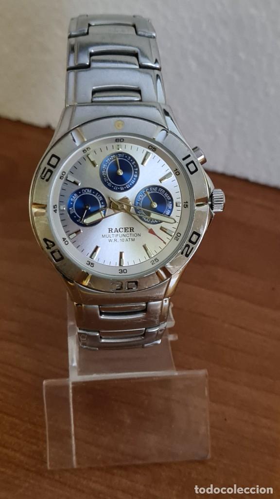 Relojes - Racer: Reloj caballero RACER multifunción acero, esfera blanca y azul, cristal sin rayas, correa acero orig - Foto 10 - 243269710