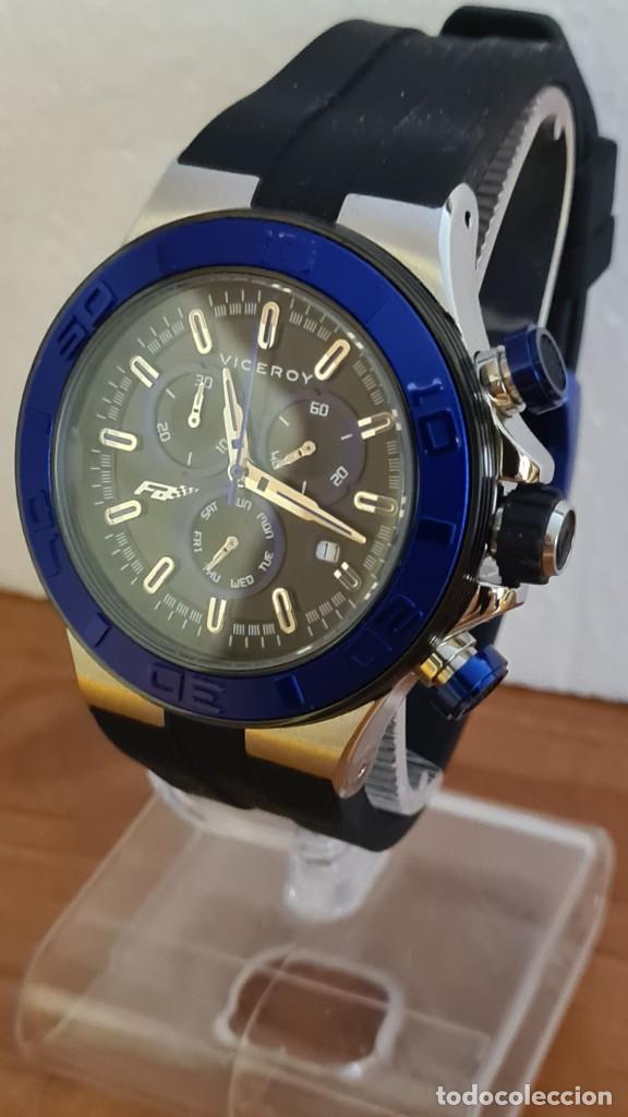 Relojes - Racer: Reloj caballero acero Viceroy cuarzo cronografo multifunción, calendario las cuatro, correa silicona - Foto 2 - 243275340
