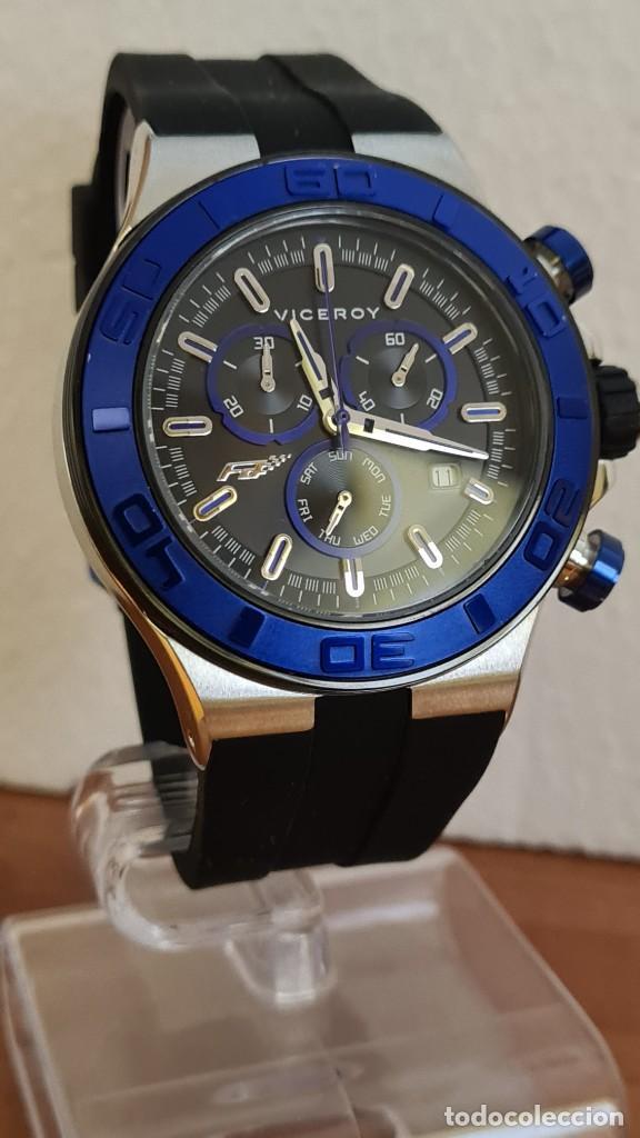 Relojes - Racer: Reloj caballero acero Viceroy cuarzo cronografo multifunción, calendario las cuatro, correa silicona - Foto 3 - 243275340