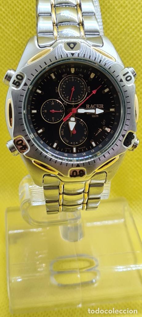 RELOJ CABALLERO RACER CUARZO CRONO, CALENDARIO, VARIAS ALARMAS, FECHA, CAJA, CORREA ACERO BICOLOR. (Relojes - Relojes Actuales - Racer)