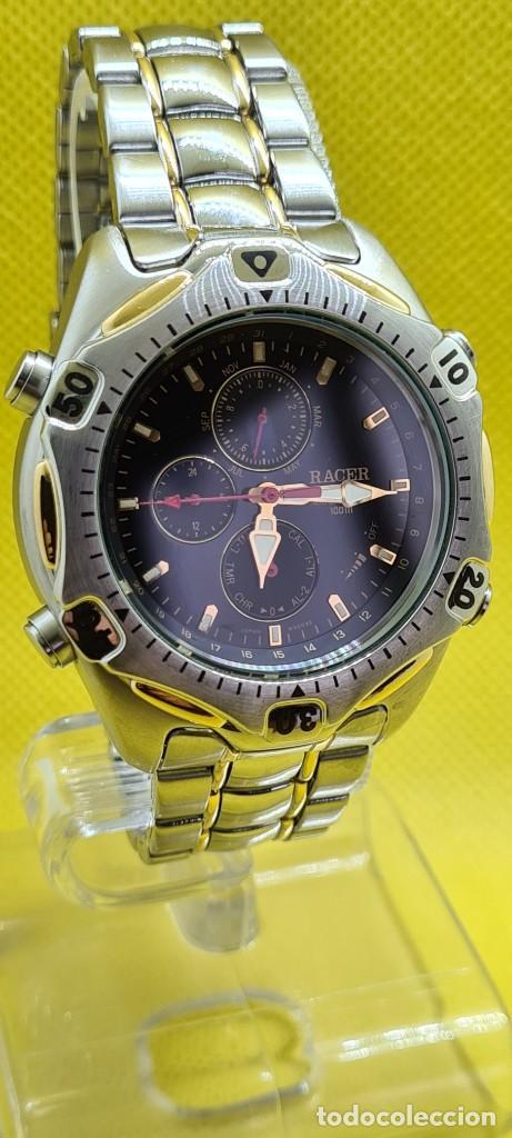 Relojes - Racer: Reloj caballero RACER cuarzo crono, calendario, varias alarmas, fecha, caja, correa acero bicolor. - Foto 3 - 247989315