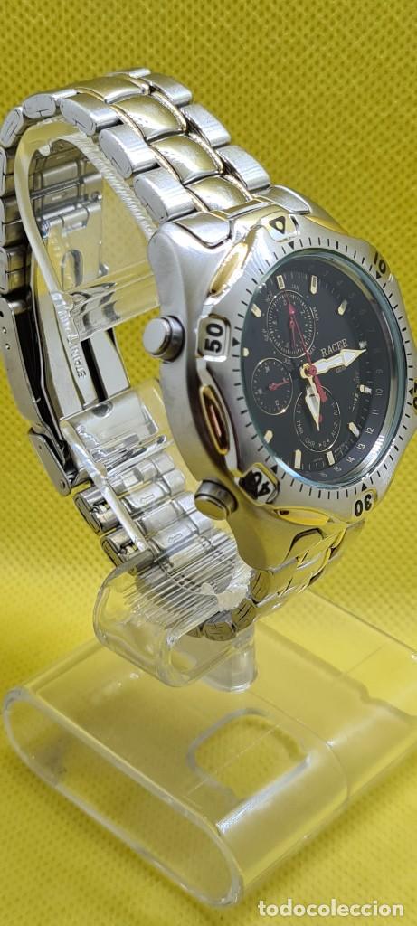 Relojes - Racer: Reloj caballero RACER cuarzo crono, calendario, varias alarmas, fecha, caja, correa acero bicolor. - Foto 4 - 247989315