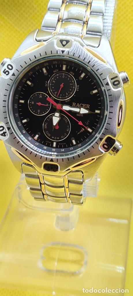 Relojes - Racer: Reloj caballero RACER cuarzo crono, calendario, varias alarmas, fecha, caja, correa acero bicolor. - Foto 6 - 247989315