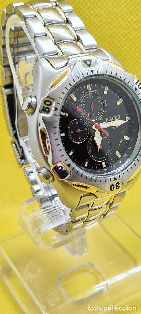 Relojes - Racer: Reloj caballero RACER cuarzo crono, calendario, varias alarmas, fecha, caja, correa acero bicolor. - Foto 7 - 247989315