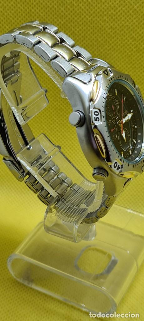 Relojes - Racer: Reloj caballero RACER cuarzo crono, calendario, varias alarmas, fecha, caja, correa acero bicolor. - Foto 9 - 247989315