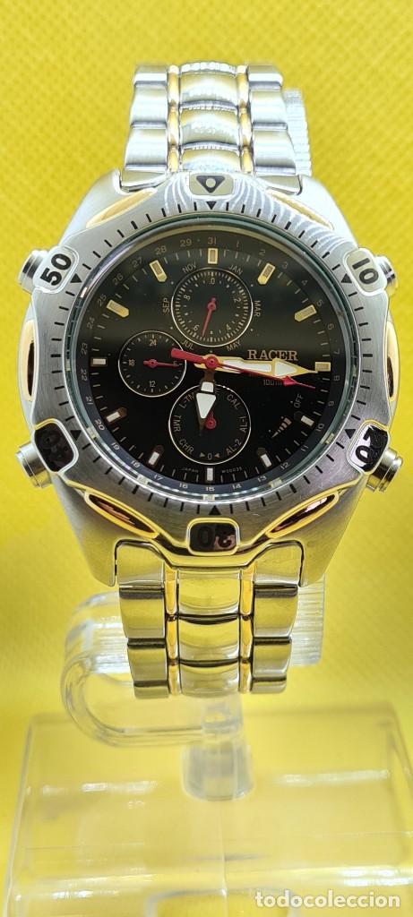 Relojes - Racer: Reloj caballero RACER cuarzo crono, calendario, varias alarmas, fecha, caja, correa acero bicolor. - Foto 12 - 247989315