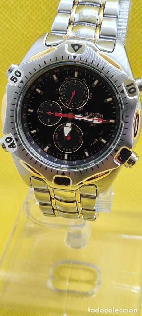 Relojes - Racer: Reloj caballero RACER cuarzo crono, calendario, varias alarmas, fecha, caja, correa acero bicolor. - Foto 14 - 247989315