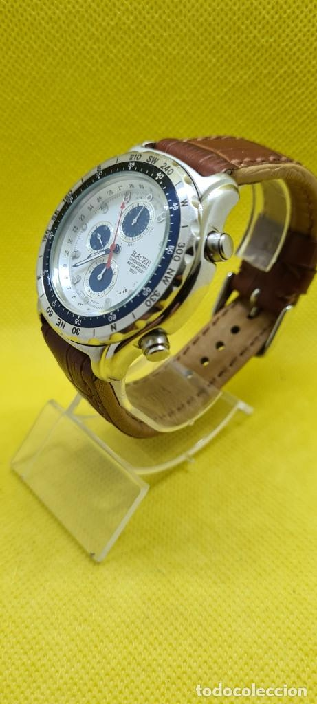 Relojes - Racer: Reloj caballero RACER cuarzo crono, calendario, varias alarmas, fecha, caja acero, bisel giratorio. - Foto 4 - 248485730