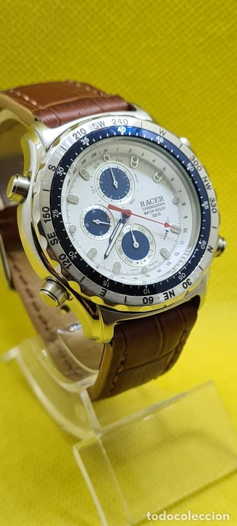 Relojes - Racer: Reloj caballero RACER cuarzo crono, calendario, varias alarmas, fecha, caja acero, bisel giratorio. - Foto 5 - 248485730