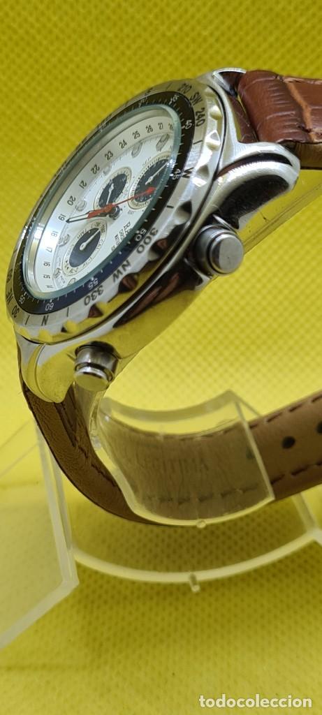 Relojes - Racer: Reloj caballero RACER cuarzo crono, calendario, varias alarmas, fecha, caja acero, bisel giratorio. - Foto 6 - 248485730