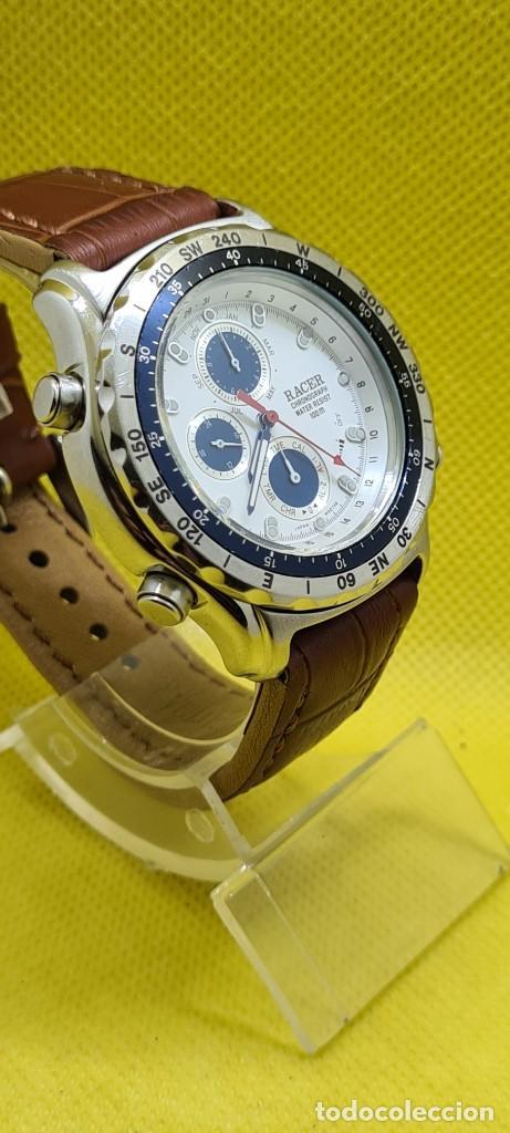 Relojes - Racer: Reloj caballero RACER cuarzo crono, calendario, varias alarmas, fecha, caja acero, bisel giratorio. - Foto 7 - 248485730