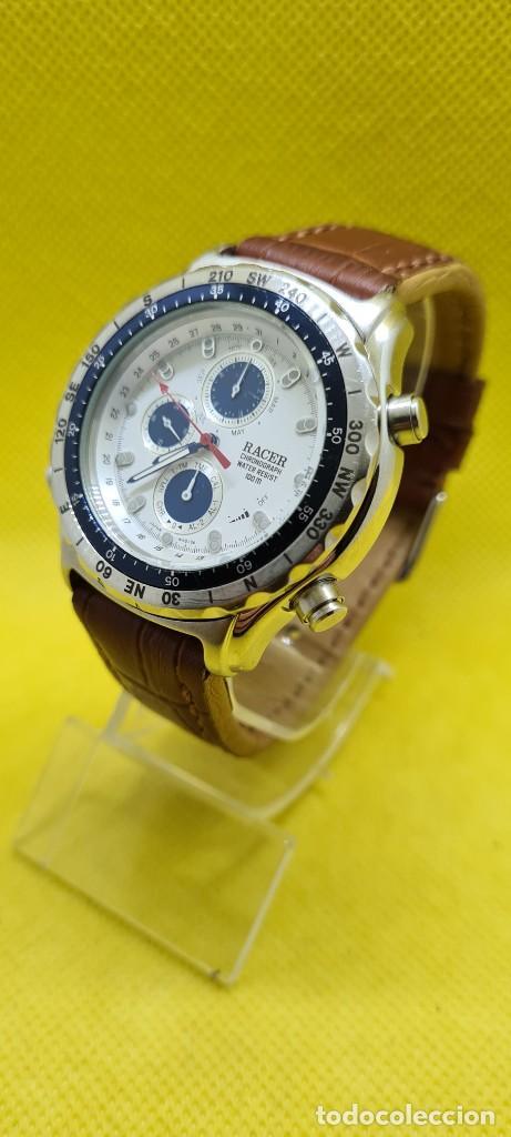 Relojes - Racer: Reloj caballero RACER cuarzo crono, calendario, varias alarmas, fecha, caja acero, bisel giratorio. - Foto 8 - 248485730