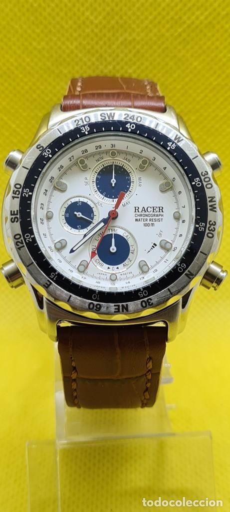 Relojes - Racer: Reloj caballero RACER cuarzo crono, calendario, varias alarmas, fecha, caja acero, bisel giratorio. - Foto 12 - 248485730