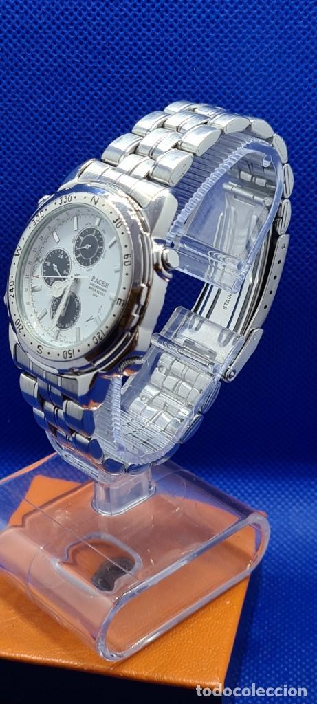 Relojes - Racer: Reloj caballero RACER cuarzo crono, calendario, varias alarmas, fecha, caja acero, caja acero origin - Foto 3 - 248493860