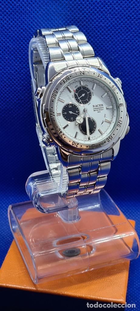 Relojes - Racer: Reloj caballero RACER cuarzo crono, calendario, varias alarmas, fecha, caja acero, caja acero origin - Foto 4 - 248493860