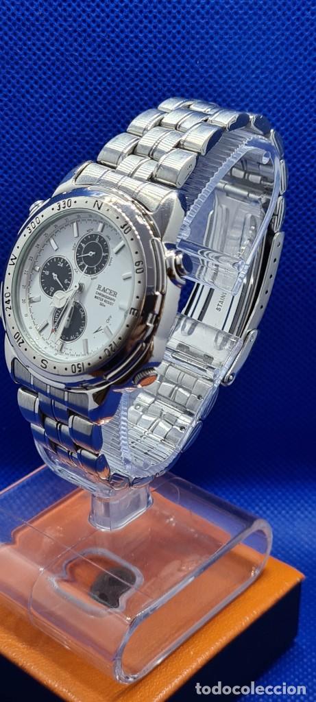 Relojes - Racer: Reloj caballero RACER cuarzo crono, calendario, varias alarmas, fecha, caja acero, caja acero origin - Foto 7 - 248493860