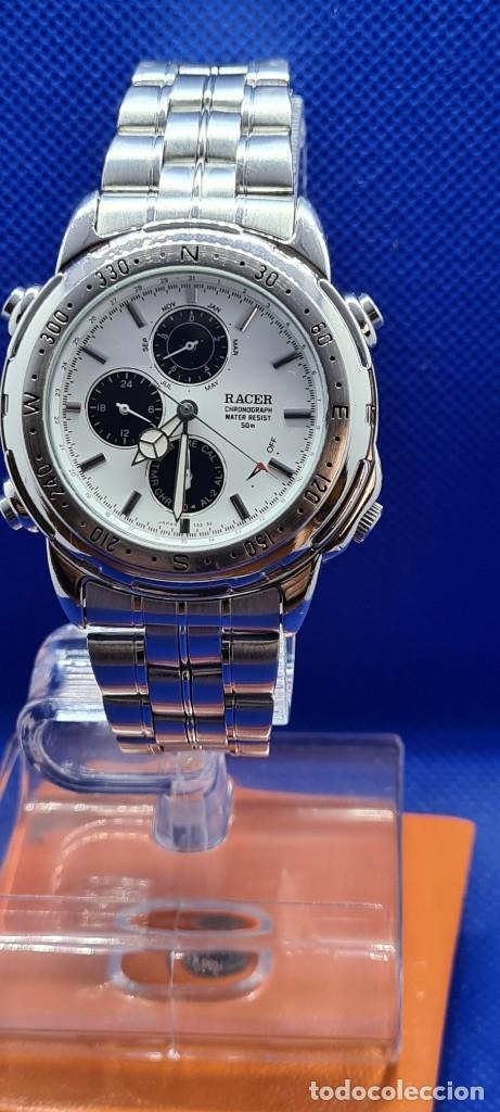 Relojes - Racer: Reloj caballero RACER cuarzo crono, calendario, varias alarmas, fecha, caja acero, caja acero origin - Foto 9 - 248493860