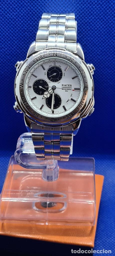 Relojes - Racer: Reloj caballero RACER cuarzo crono, calendario, varias alarmas, fecha, caja acero, caja acero origin - Foto 11 - 248493860