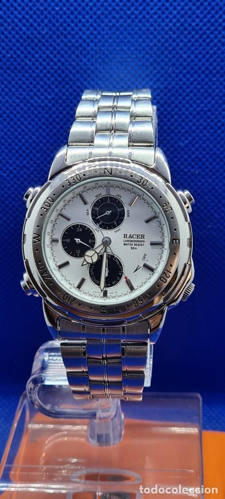 Relojes - Racer: Reloj caballero RACER cuarzo crono, calendario, varias alarmas, fecha, caja acero, caja acero origin - Foto 12 - 248493860