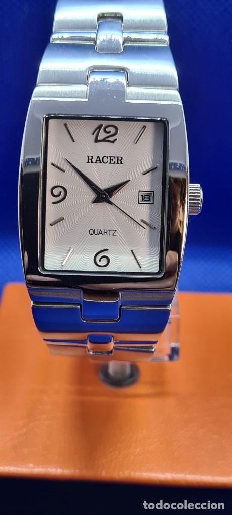 RELOJ CABALLERO RACER DE CUARZO EN ACERO,ESFERA BLANCA CALENDARIO TRES, PULSERA ACERO ORIGINAL RACER (Relojes - Relojes Actuales - Racer)