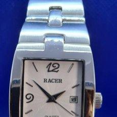 Relojes - Racer: RELOJ CABALLERO RACER DE CUARZO EN ACERO,ESFERA BLANCA CALENDARIO TRES, PULSERA ACERO ORIGINAL RACER. Lote 248721415