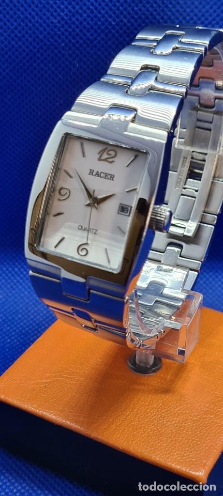 Relojes - Racer: Reloj caballero RACER de cuarzo en acero,esfera blanca calendario tres, pulsera acero original Racer - Foto 2 - 248721415