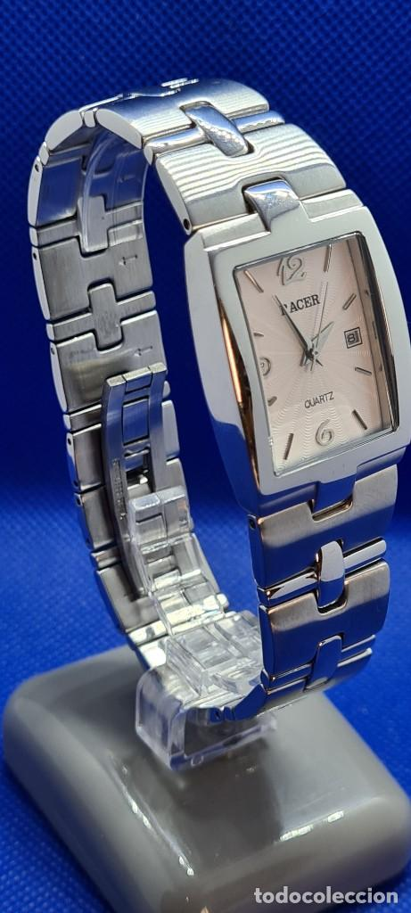 Relojes - Racer: Reloj caballero RACER de cuarzo en acero,esfera blanca calendario tres, pulsera acero original Racer - Foto 3 - 248721415
