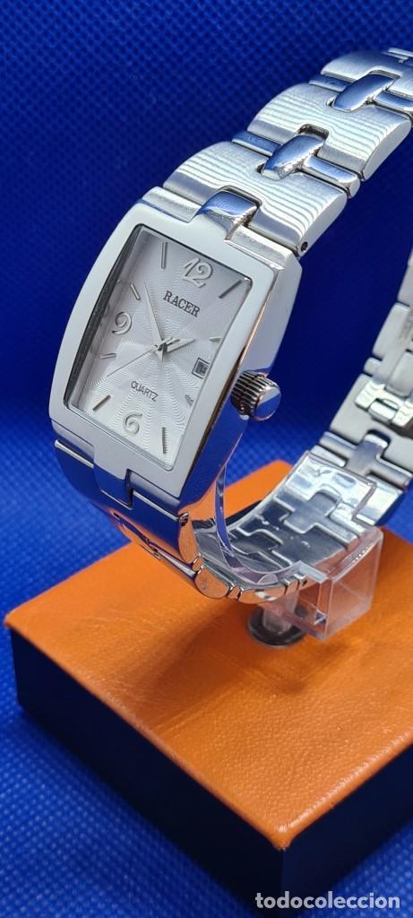 Relojes - Racer: Reloj caballero RACER de cuarzo en acero,esfera blanca calendario tres, pulsera acero original Racer - Foto 4 - 248721415