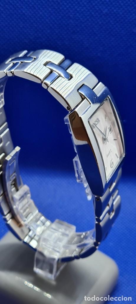 Relojes - Racer: Reloj caballero RACER de cuarzo en acero,esfera blanca calendario tres, pulsera acero original Racer - Foto 5 - 248721415