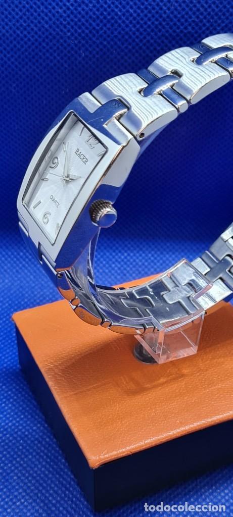 Relojes - Racer: Reloj caballero RACER de cuarzo en acero,esfera blanca calendario tres, pulsera acero original Racer - Foto 6 - 248721415