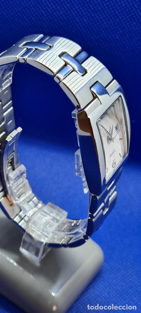 Relojes - Racer: Reloj caballero RACER de cuarzo en acero,esfera blanca calendario tres, pulsera acero original Racer - Foto 7 - 248721415
