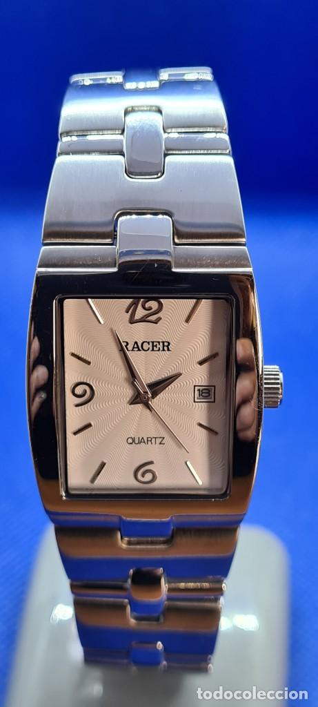 Relojes - Racer: Reloj caballero RACER de cuarzo en acero,esfera blanca calendario tres, pulsera acero original Racer - Foto 9 - 248721415