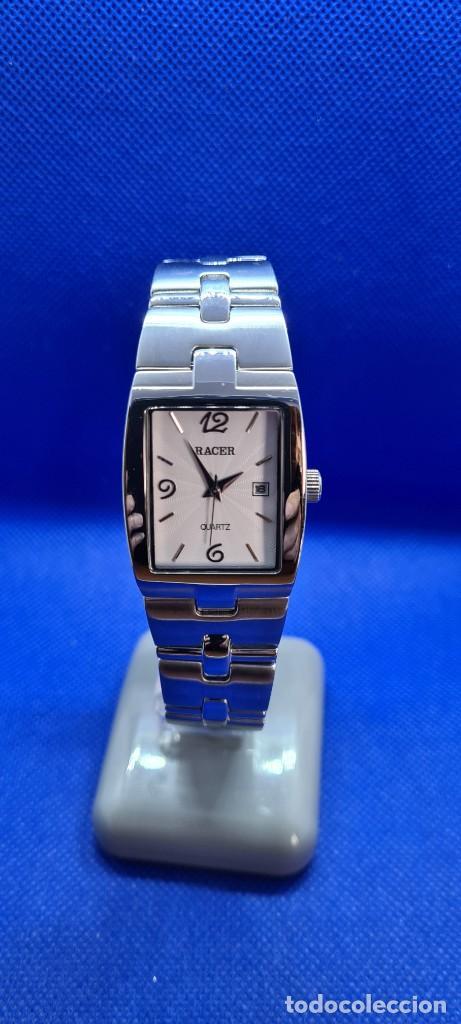 Relojes - Racer: Reloj caballero RACER de cuarzo en acero,esfera blanca calendario tres, pulsera acero original Racer - Foto 10 - 248721415