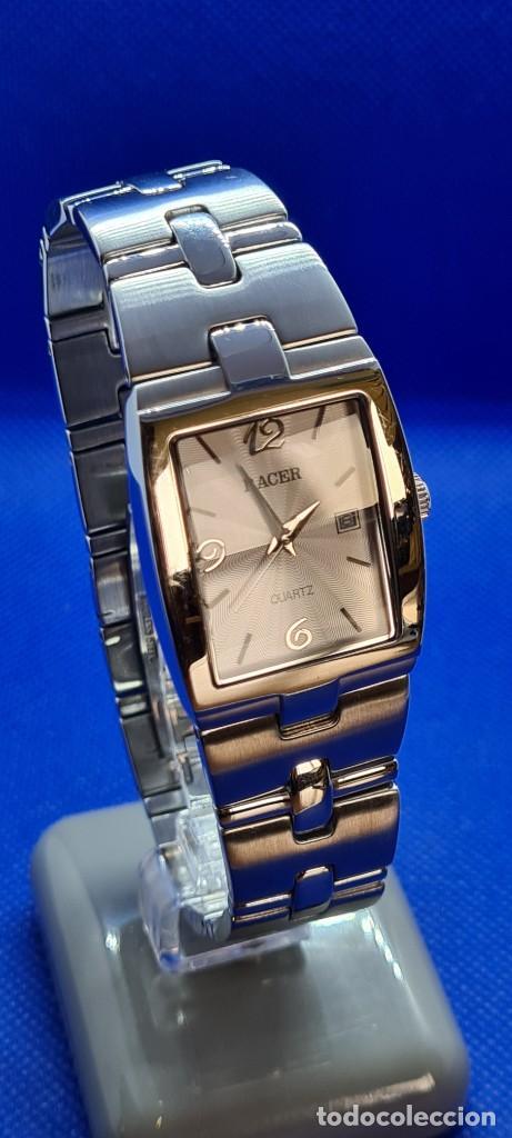 Relojes - Racer: Reloj caballero RACER de cuarzo en acero,esfera blanca calendario tres, pulsera acero original Racer - Foto 12 - 248721415