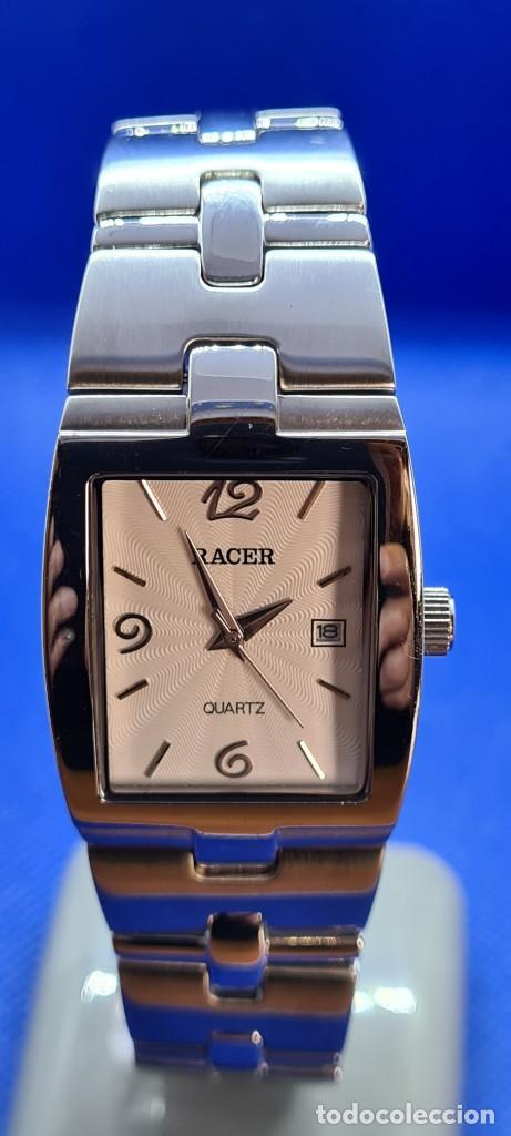 Relojes - Racer: Reloj caballero RACER de cuarzo en acero,esfera blanca calendario tres, pulsera acero original Racer - Foto 13 - 248721415