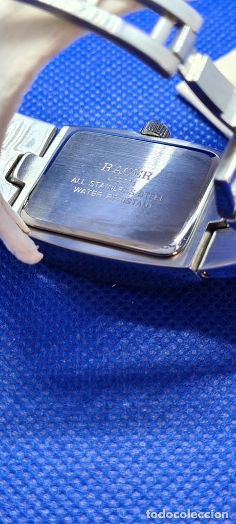 Relojes - Racer: Reloj caballero RACER de cuarzo en acero,esfera blanca calendario tres, pulsera acero original Racer - Foto 17 - 248721415