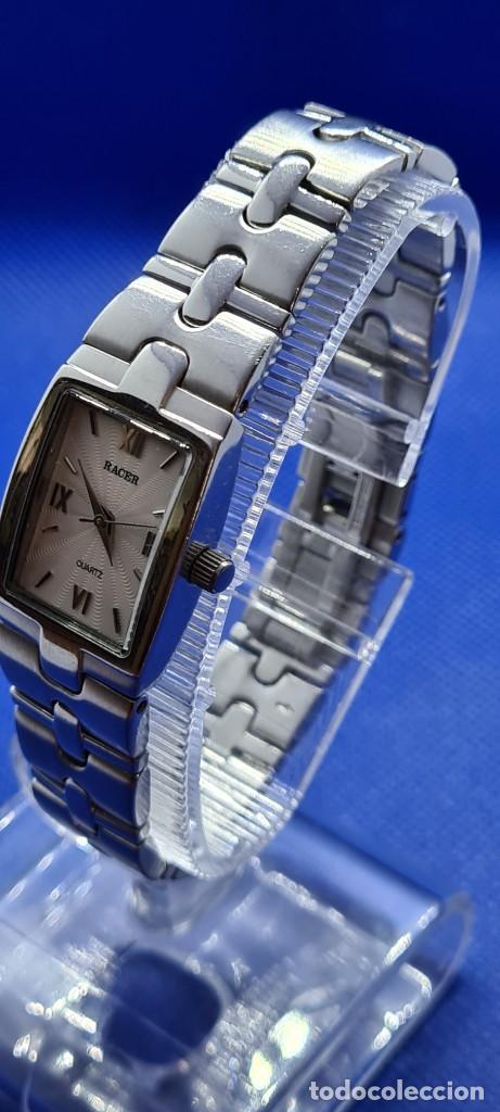 Relojes - Racer: Reloj señora RACER de cuarzo en acero, caja de acero, esfera blanca, pulsera acero original Racer. - Foto 6 - 248999965