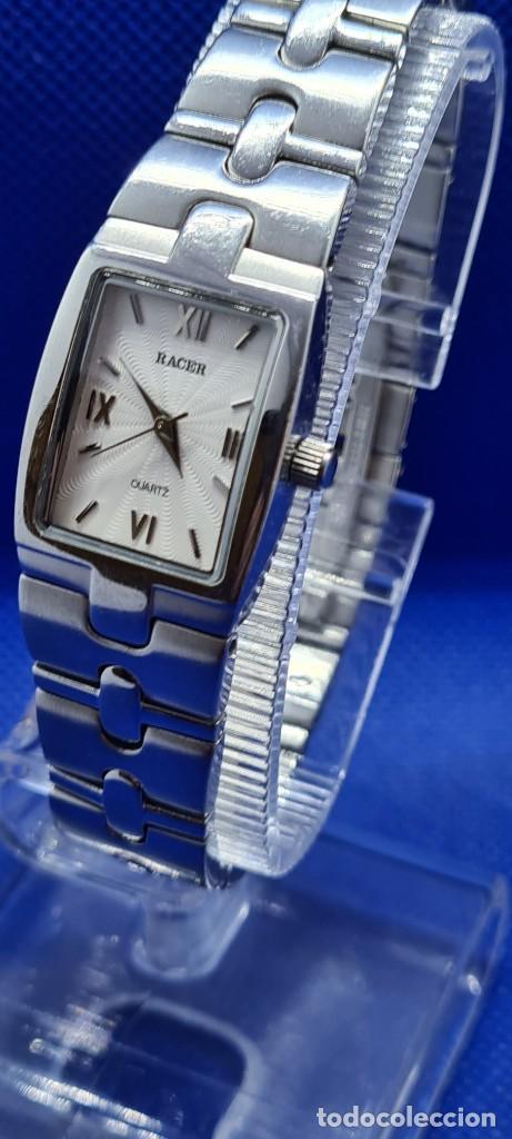 Relojes - Racer: Reloj señora RACER de cuarzo en acero, caja de acero, esfera blanca, pulsera acero original Racer. - Foto 11 - 248999965