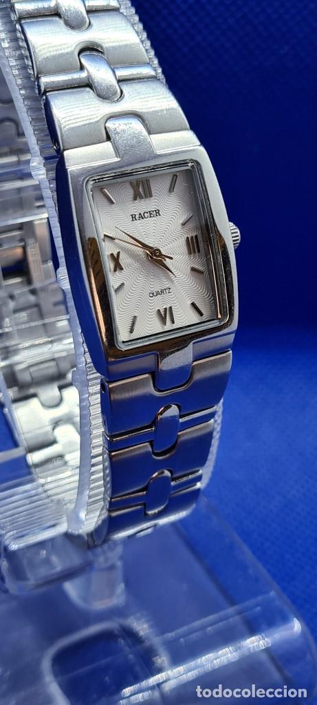 Relojes - Racer: Reloj señora RACER de cuarzo en acero, caja de acero, esfera blanca, pulsera acero original Racer. - Foto 12 - 248999965