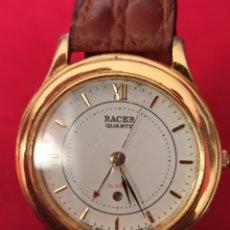 Relojes - Racer: RELOJ RACER ALARMA JAPAN NUEVO FUNCIONA PERFECTO CHAPADO 0RO CORREA PIEL NUEVA. Lote 251827830