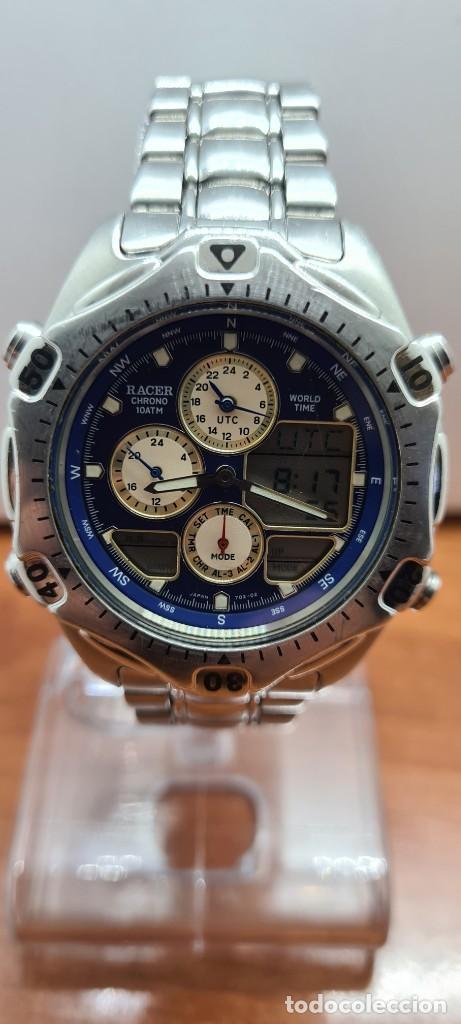 Relojes - Racer: Reloj caballero RACER World Time cronógrafo alarma análogico y digital en acero, correa de acero. - Foto 2 - 253882080
