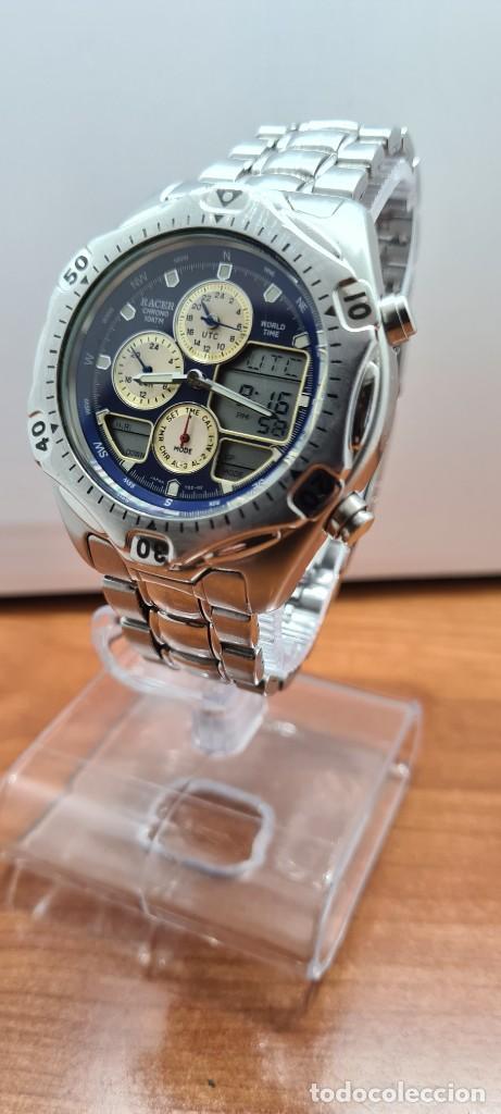 Relojes - Racer: Reloj caballero RACER World Time cronógrafo alarma análogico y digital en acero, correa de acero. - Foto 3 - 253882080