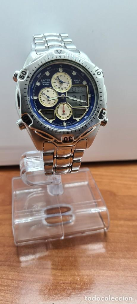 Relojes - Racer: Reloj caballero RACER World Time cronógrafo alarma análogico y digital en acero, correa de acero. - Foto 4 - 253882080
