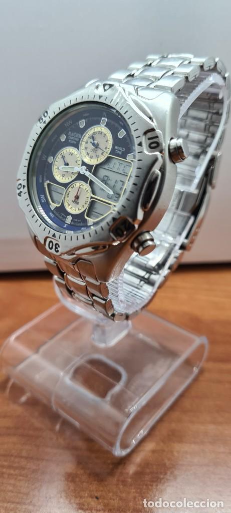 Relojes - Racer: Reloj caballero RACER World Time cronógrafo alarma análogico y digital en acero, correa de acero. - Foto 5 - 253882080
